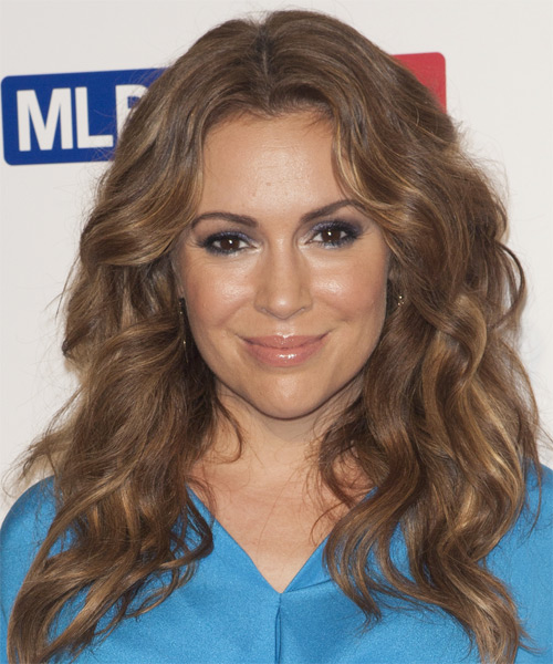 Alyssa Milano Long Wavy Casual    Hairstyle   -  Chestnut Brunette Hair Color