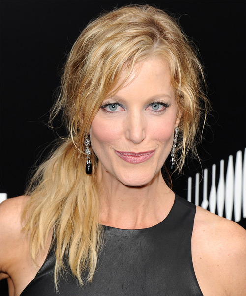 Anna Gunn Half Up Long Curly Casual  Half Up Hairstyle
