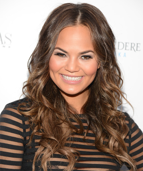 Christine Teigen Long Wavy Casual   Hairstyle   - Medium Brunette (Chestnut)