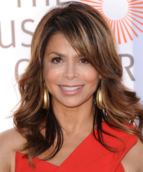 Paula Abdul Long Wavy Formal   Hairstyle   (Auburn)