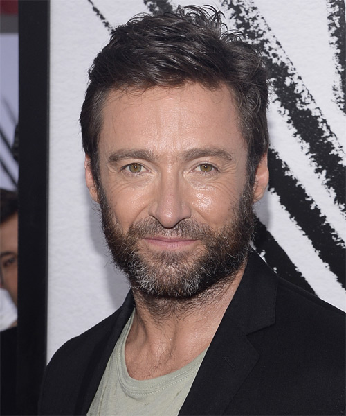 Hugh Jackman Short Straight Casual    Hairstyle   - Dark Brunette Hair Color