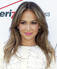 Jennifer Lopez Long Straight Casual    Hairstyle   -  Chestnut Brunette Hair Color