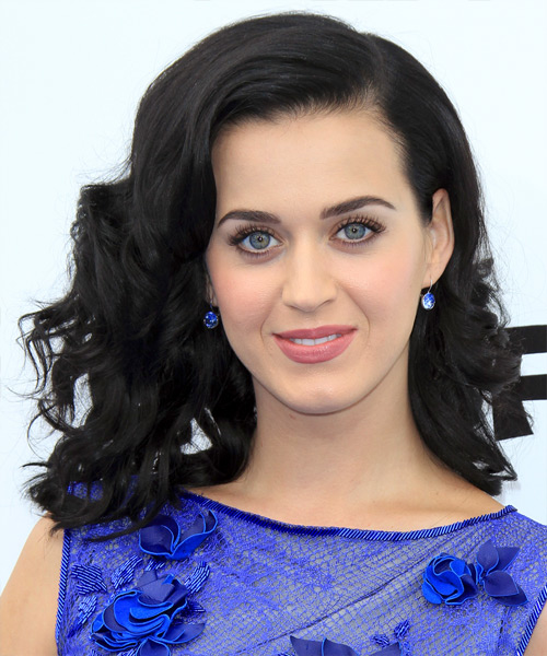 Katy Perry Medium Wavy Formal   Hairstyle   - Black