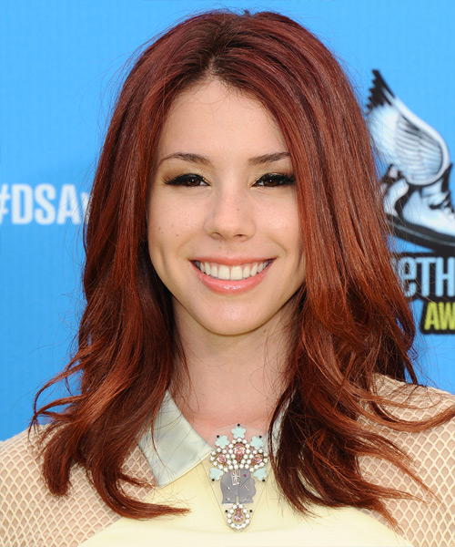 Jillian Rose Reed Long Straight Casual    Hairstyle   -  Mahogany Red Hair Color