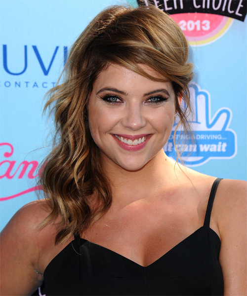 Ashley Benson  Long Curly Casual   Half Up Hairstyle