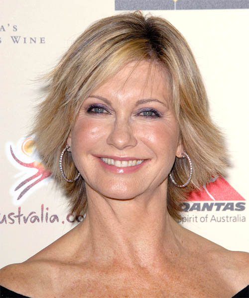 Olivia Newton John Short Straight Casual Hairstyle