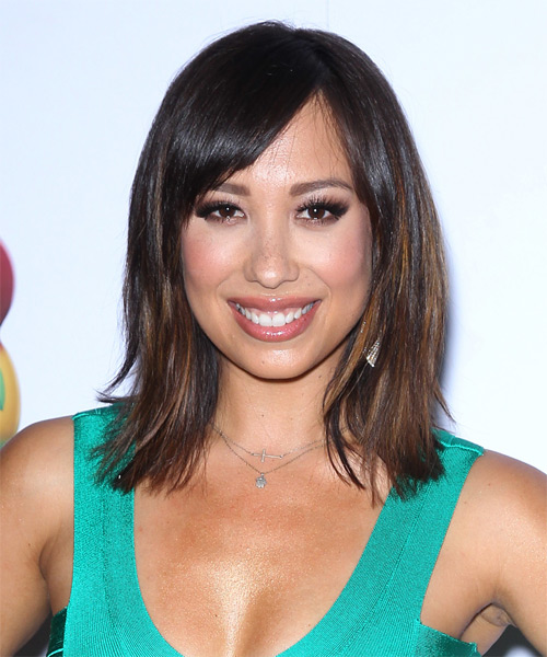 Cheryl Burke Medium Straight    Brunette   Hairstyle