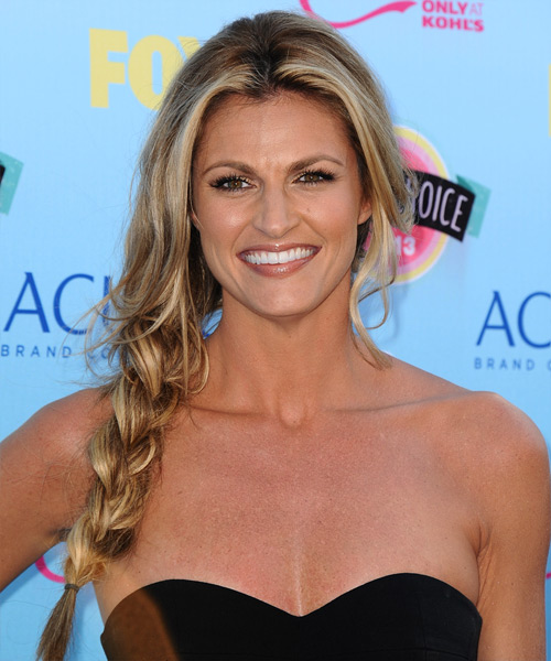 Erin Andrews Casual Long Curly Half Up Hairstyle