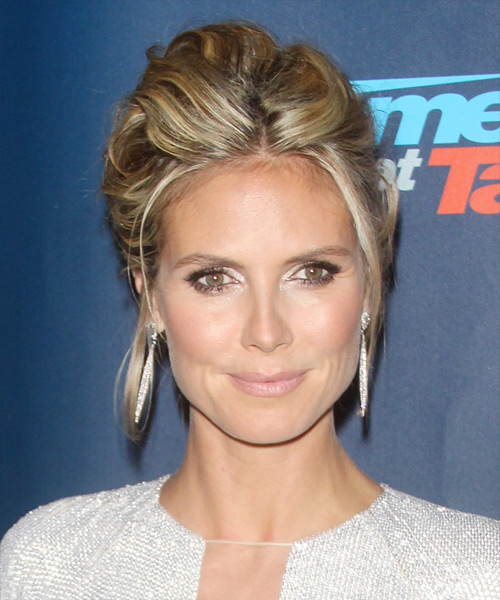 Heidi Klum  Long Straight Casual   Updo Hairstyle