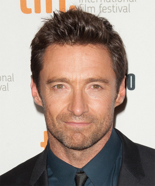 Hugh Jackman Short Straight Casual    Hairstyle   - Chocolate Hair Color