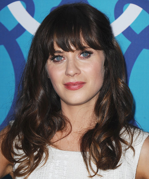 Zooey Deschanel Long Wavy Casual   Hairstyle with Blunt Cut Bangs  - Dark Brunette