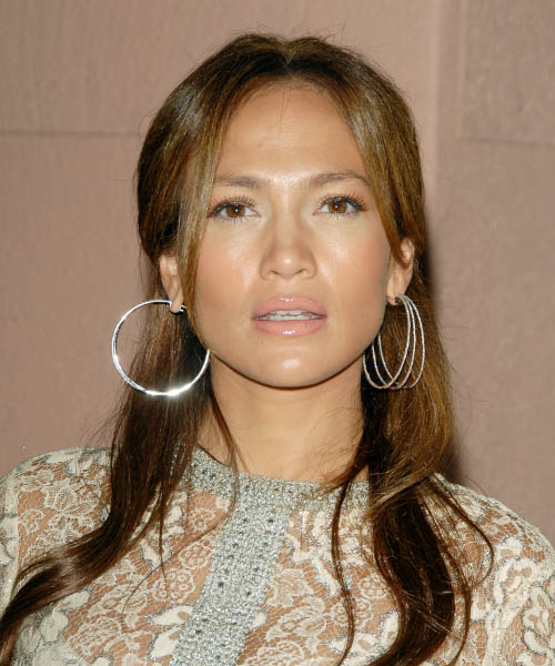 Jennifer Lopez  Long Straight Casual   Half Up Hairstyle