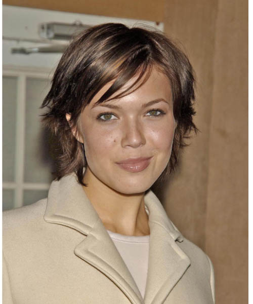Mandy Moore Short Straight Casual   Hairstyle with Side Swept Bangs