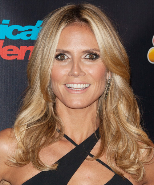 Heidi Klum Long Wavy Casual    Hairstyle   - Medium Honey Blonde Hair Color