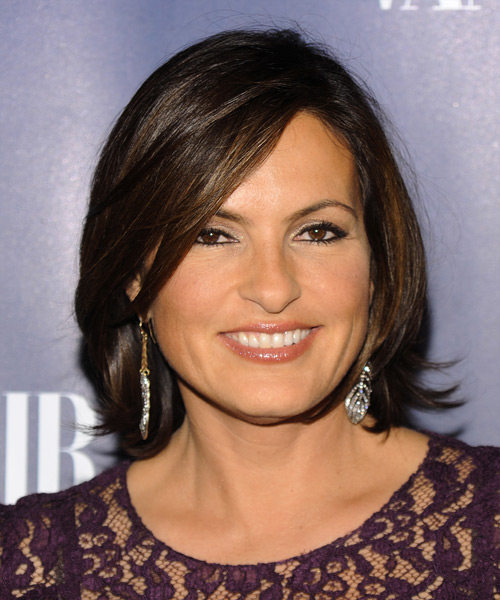 Mariska Hargitay Short Straight Formal    Hairstyle with Side Swept Bangs