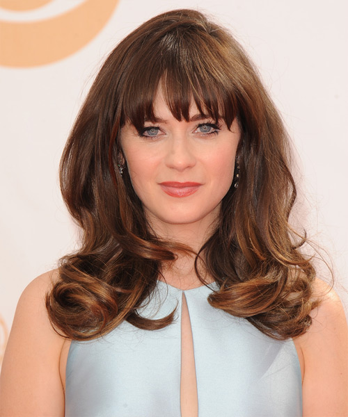 Zooey Deschanel Long Straight Formal   Hairstyle with Blunt Cut Bangs
