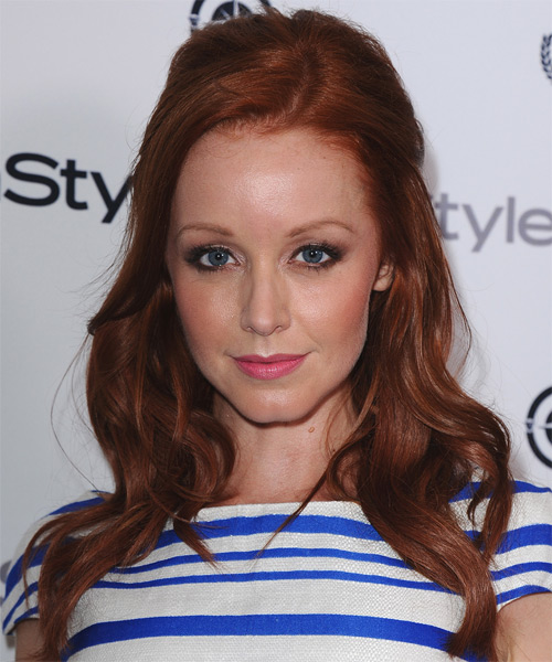 Lindy Booth Half Up Long Curly Casual  Half Up Hairstyle