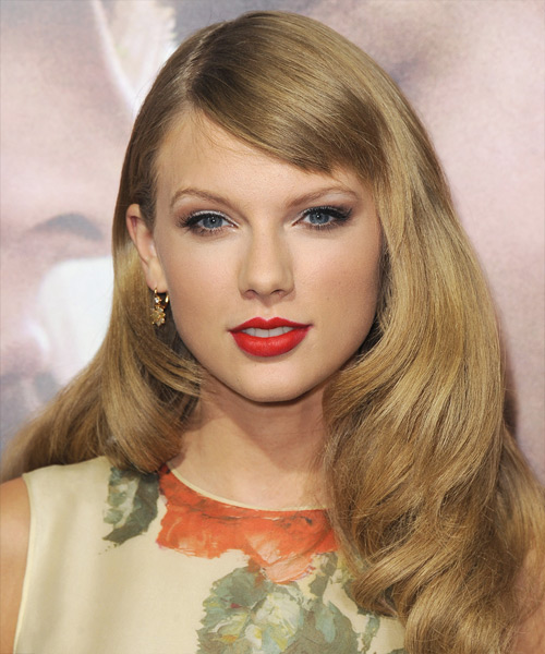Taylor Swift Long Straight     Hairstyle with Side Swept Bangs