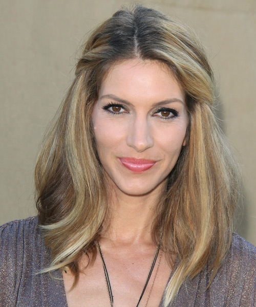 Dawn Olivieri Half Up Long Straight Casual  Half Up Hairstyle