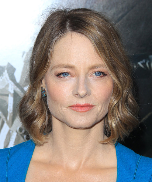 hair styles for mid length jodie foster wavy casual hairstyle 8578