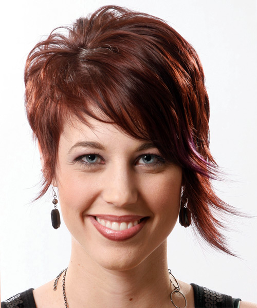 Short Straight    Mahogany Brunette   Hairstyle with Side Swept Bangs