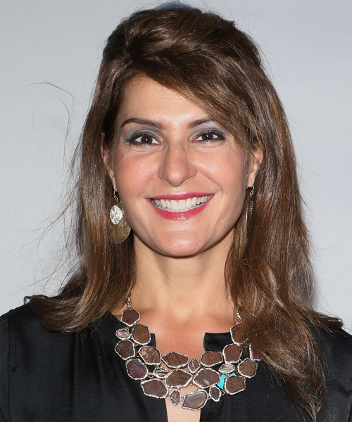 Nia Vardalos  Long Straight Casual   Half Up Hairstyle