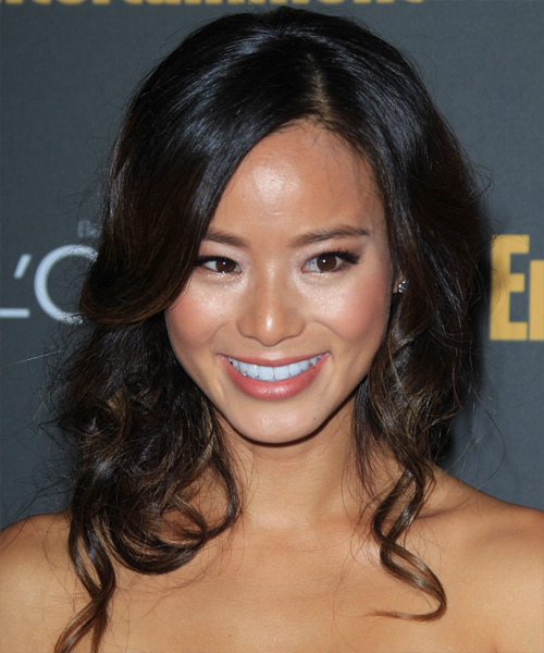 Jamie Chung Half Up Long Curly Formal  Half Up Hairstyle