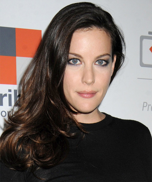 Liv Tyler Long Straight Casual    Hairstyle   - Dark Brunette Hair Color