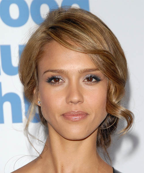 Jessica Alba  Long Curly Formal   Updo Hairstyle