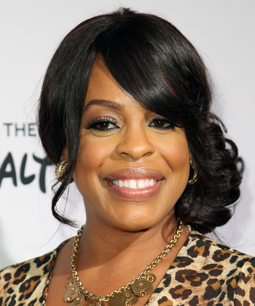 Niecy Nash Updo Long Curly Formal Wedding Updo Hairstyle with Side Swept Bangs  - Black