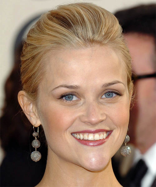 Reese Witherspoon Updo Medium Straight Formal Wedding Updo Hairstyle