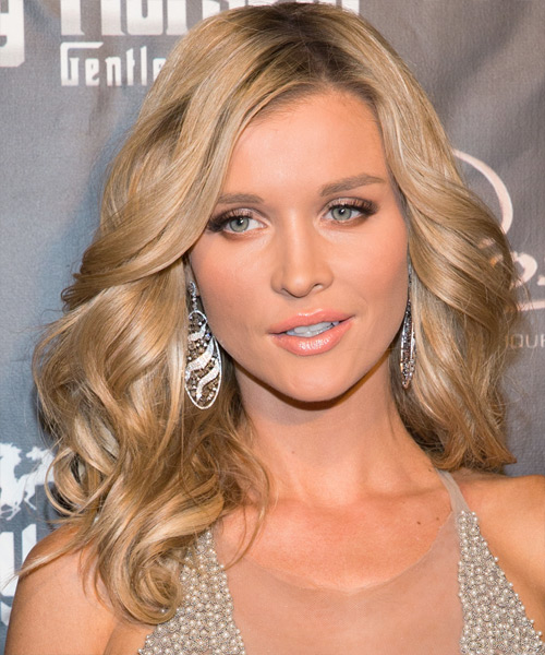 Joanna Krupa Long Wavy Formal    Hairstyle   - Medium Blonde Hair Color with Light Blonde Highlights