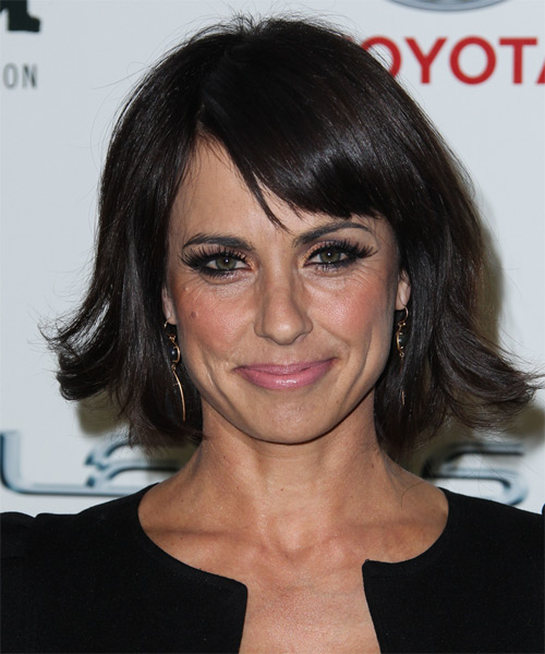 Constance Zimmer Medium Straight Formal   Hairstyle with Side Swept Bangs  - Dark Brunette