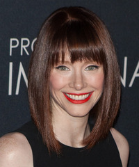 Bryce Dallas Howard Medium Straight Formal  Bob  Hairstyle with Blunt Cut Bangs  -  Mocha Brunette Hair Color