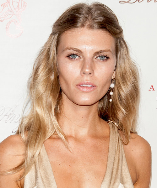 Maryna Linchuk  Long Straight Casual   Half Up Hairstyle   - Medium Strawberry Blonde Hair Color