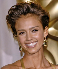 Jessica Alba  Long Curly Formal   Updo Hairstyle   -  Mocha Brunette Hair Color