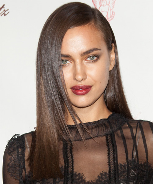 Irina Shayk Long Straight Formal   Hairstyle   - Medium Brunette