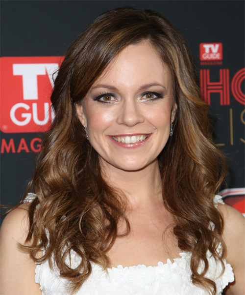 Rachel Boston Long Wavy Casual   Hairstyle   - Medium Brunette