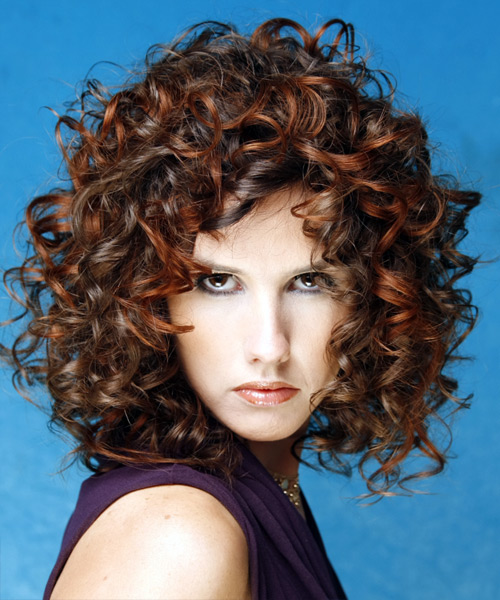 Medium Length Brown curly hair and copper highlights