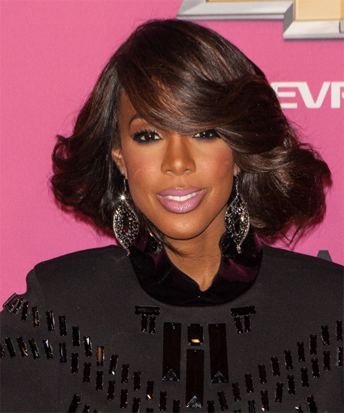 Kelly Rowland Medium Wavy Formal   Hairstyle with Side Swept Bangs  - Dark Brunette (Mocha)