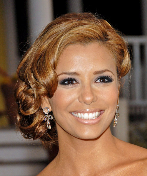 Eva Longoria Parker  Long Curly Formal   Updo Hairstyle   - Light Auburn Brunette Hair Color