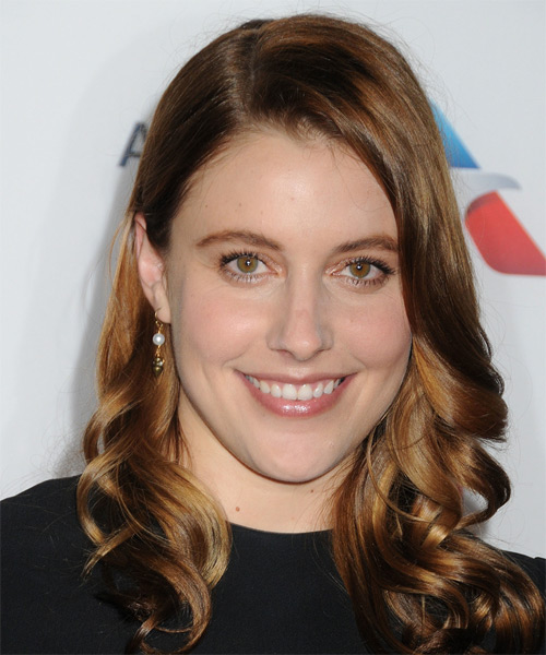 Greta Gerwig Long Wavy Casual   Hairstyle   - Medium Brunette (Auburn)