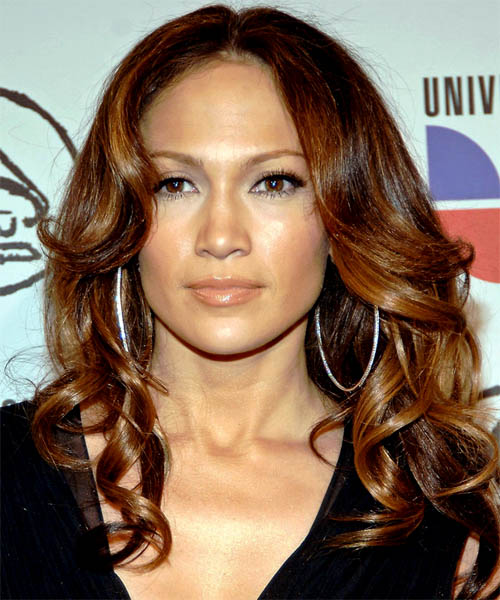 Jennifer Lopez Long Wavy Formal    Hairstyle   - Dark Auburn Brunette Hair Color