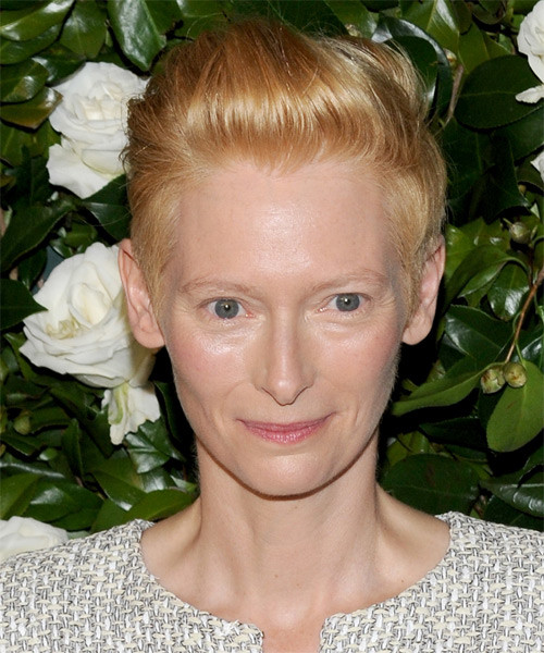 Tilda Swinton Short Straight Formal    Hairstyle   -  Copper Blonde Hair Color