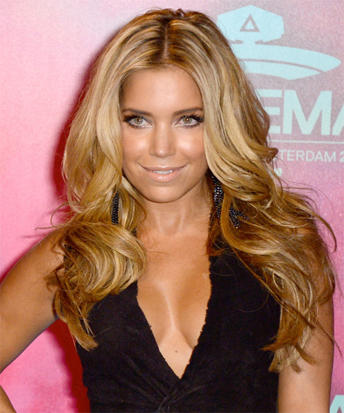 Sylvie van der Vaart Long Straight Formal    Hairstyle   - Dark Golden Blonde Hair Color with Light Blonde Highlights