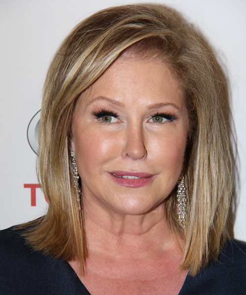 Kathy Hilton Medium Straight Casual    Hairstyle   -  Golden Blonde Hair Color with Light Blonde Highlights