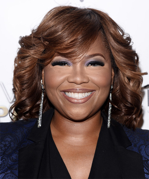Mona Scott Medium Curly Formal    Hairstyle with Side Swept Bangs  -  Mahogany Brunette Hair Color
