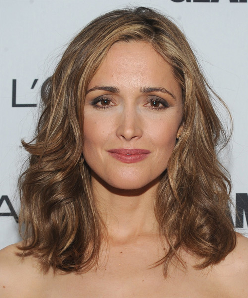 Rose Byrne Medium Wavy   Light Caramel Brunette   Hairstyle   with  Blonde Highlights