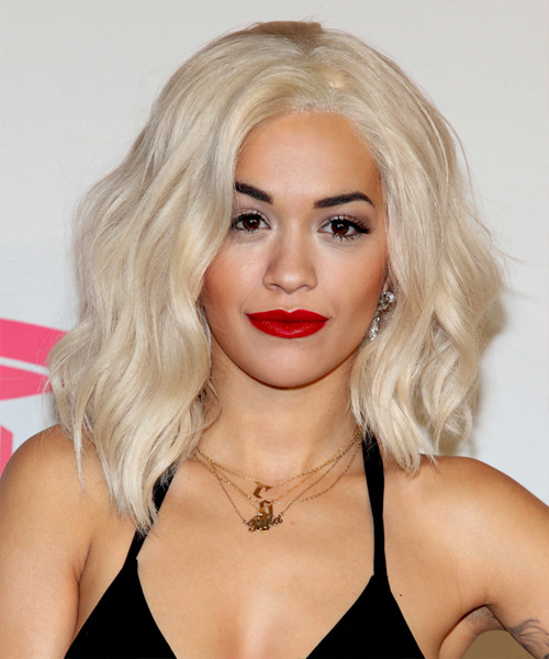 Rita Ora Medium Wavy Casual   Hairstyle   - Light Blonde (Platinum)