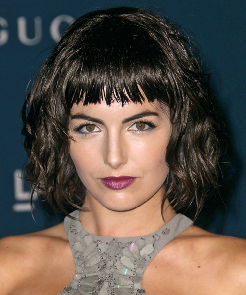Camilla Belle Short Wavy Casual Bob  Hairstyle with Blunt Cut Bangs  - Dark Brunette